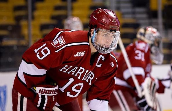 BOSTON, MA - FEBRUARY 1: Jimmy Vesey #19 of the Harvard Crimson warms up prior to NCAA hockey in the semifinals of the annual Beanpot Hockey Tournament against the Boston College Eagles at TD Garden on February 1, 2016 in Boston, Massachusetts. The Eagles won 3-2. (Photo by Richard T Gagnon/Getty Images) *** Local Caption *** Jimmy Vesey