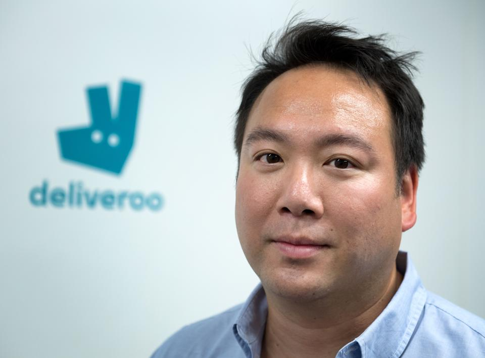 Co-founder and CEO of Deliveroo, William Shu, poses during the launch of first kitchen Deliveroo Editions in France, on July 3, 2018 in Saint-Ouen, outside Paris. (Photo by GERARD JULIEN / AFP)        (Photo credit should read GERARD JULIEN/AFP via Getty Images)