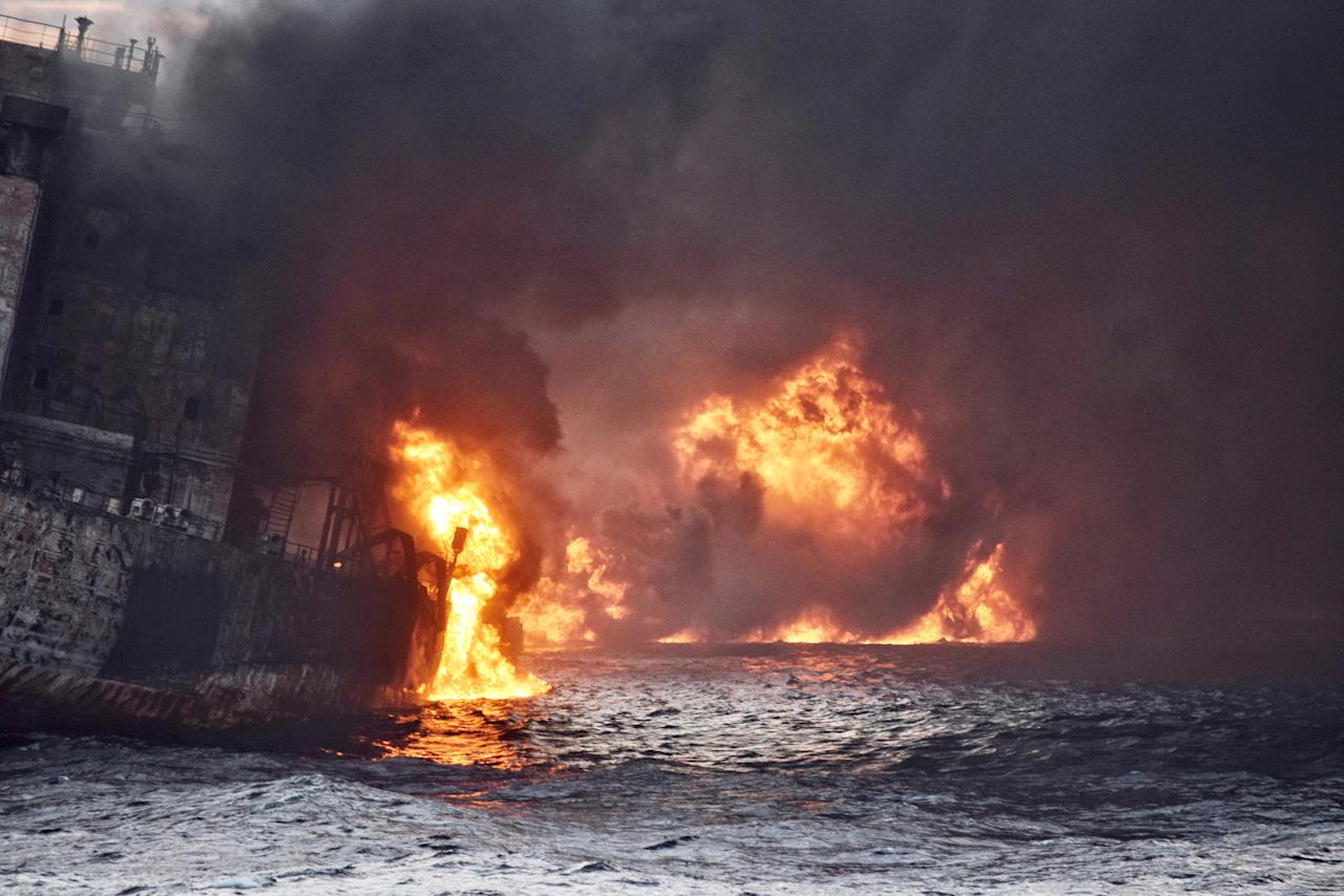<p>Iranian oil tanker Sanchi is seen engulfed in fire in the East China Sea, in this Jan. 13, 2018 picture provided by Shanghai Maritime Search and Rescue Centre and released by China Daily. (Photo: China Daily via Reuters) </p>