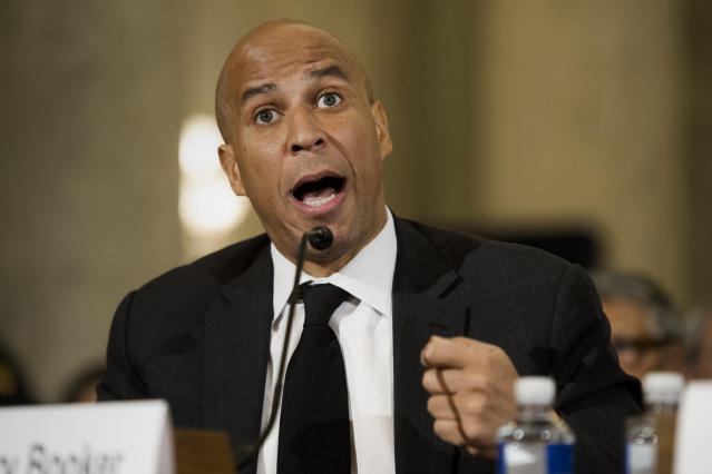 Sen. Cory Booker, D-N.J., testifies on Capitol Hill in January 2017, at a confirmation hearing for Attorney General-designate Sen. Jeff Sessions, R-Ala., before the Senate Judiciary Committee. (Photo: Cliff Owen/AP)