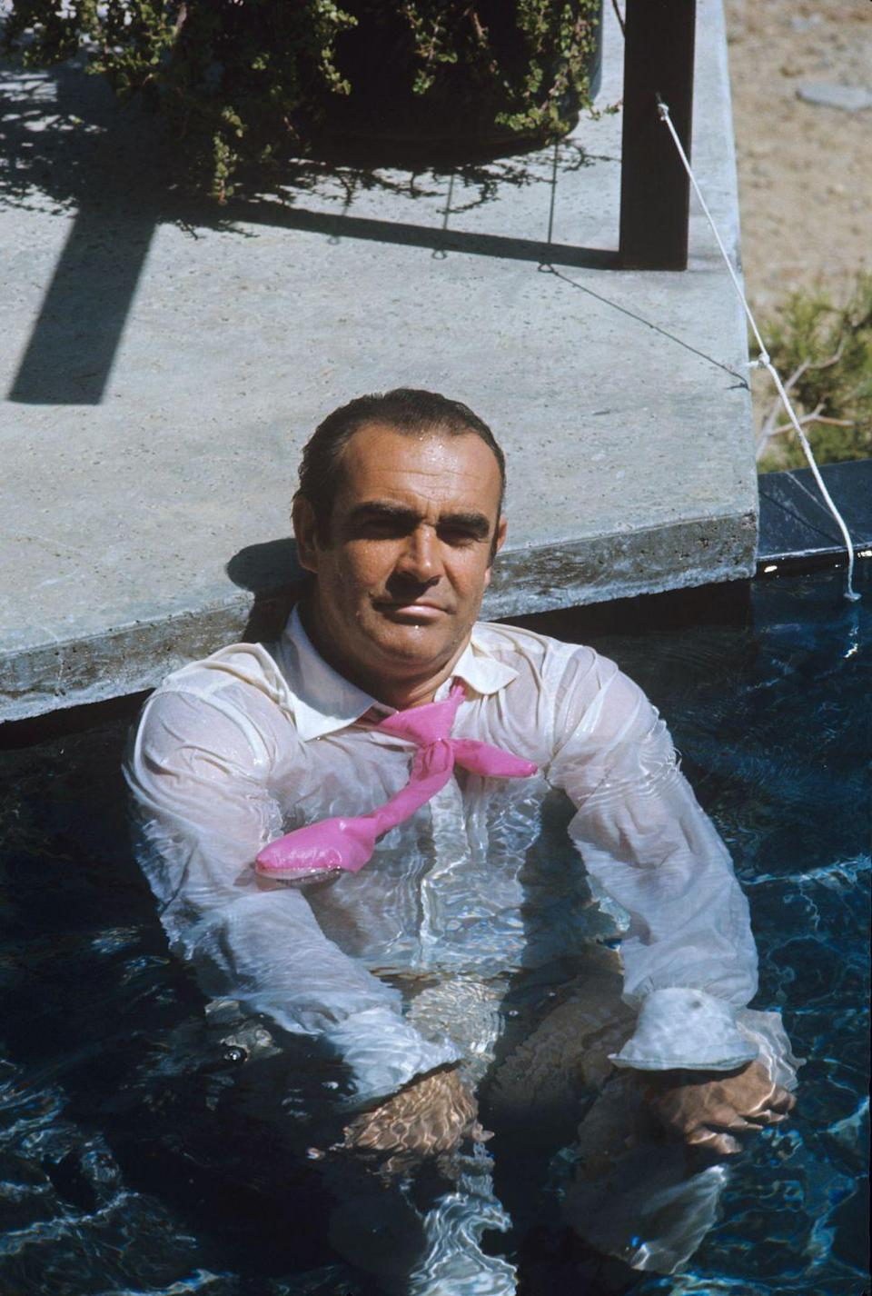<p>Sean Connery gets in the pool on 'Diamonds Are Forever' (1971) set.</p>