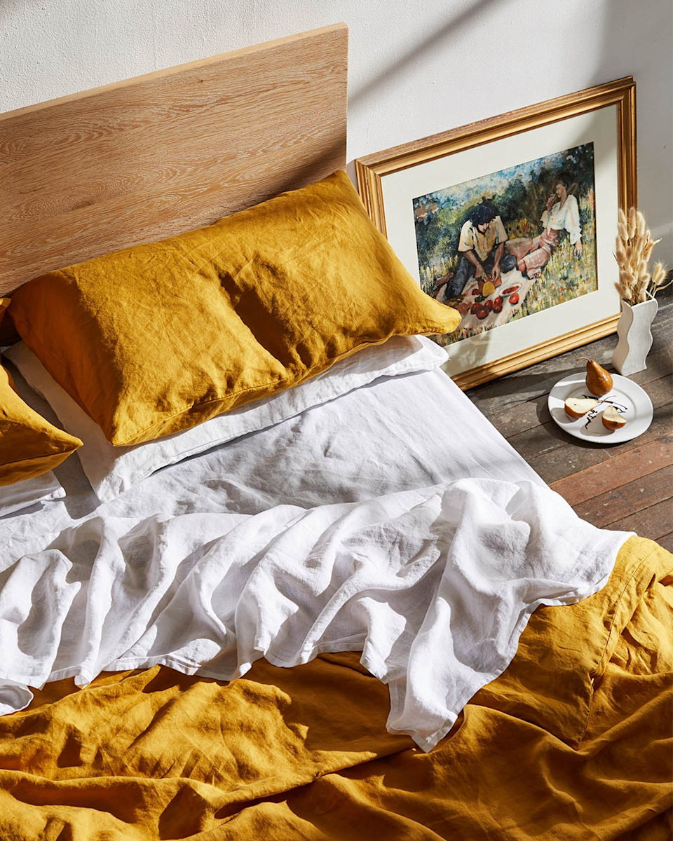 """<h3><strong>Bed Threads</strong></h3><br>Bed Threads is a carbon-neutral business that creates high-quality bedding that is easy on the environment at a reasonable price point. Their products are made from 100% pure flax linen with natural eco-friendly dyes, plus they have 19 color options that range from rich jewel tones to classic neutrals. <br><br><em>Shop <a href=""""https://bedthreads.com/"""" rel=""""nofollow noopener"""" target=""""_blank"""" data-ylk=""""slk:Bed Threads"""" class=""""link rapid-noclick-resp"""">Bed Threads</a></em><br><br><strong>Bed Threads</strong> 100% Flax Linen Duvet Cover, $, available at <a href=""""https://go.skimresources.com/?id=30283X879131&url=https%3A%2F%2Fbedthreads.com%2Fproducts%2Fturmeric-100-flax-linen-duvet-cover"""" rel=""""nofollow noopener"""" target=""""_blank"""" data-ylk=""""slk:Bed Threads"""" class=""""link rapid-noclick-resp"""">Bed Threads</a>"""