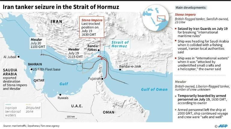 Map of Strait of Hormuz and latest seizure of British-flagged tanker by Iran