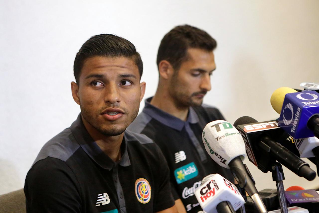 Football Soccer- Costa Rica 's national soccer team-News Conference - World Cup 2018 Qualifiers - Mexico City, Mexico - 23/3/17. Costa Rica's players Johan Venegas (L) and Celso Borges attend a news conference. REUTERS/Henry Romero