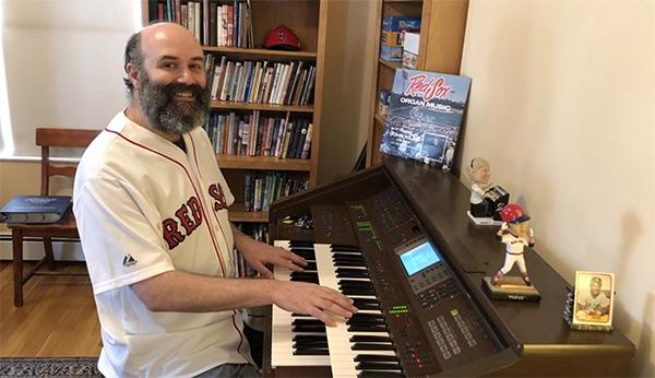 For 60-plus days, Josh Kantor has donned his Red Sox jersey and played his organ for fans starving for a little baseball. (Courtesy of Josh Kantor)