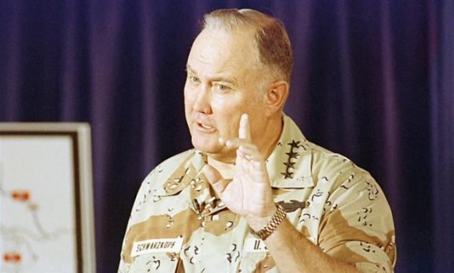Gen. Norman Schwarzkopf criticizes Iraqi military leadership during a press briefing in Riyadh on February 28, 1991.