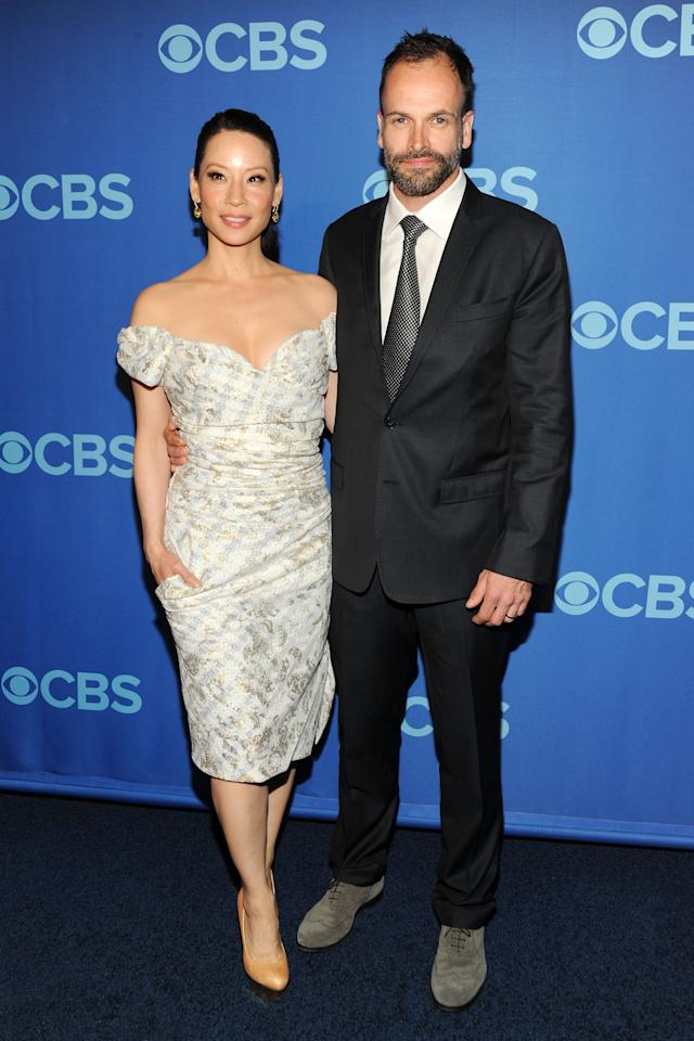 NEW YORK, NY - MAY 15:  (L-R) Cast members of Elementary Lucy Liu and Jonny Lee Miller attend CBS 2013 Upfront Presentation at The Tent at Lincoln Center on May 15, 2013 in New York City.  (Photo by Ben Gabbe/Getty Images)