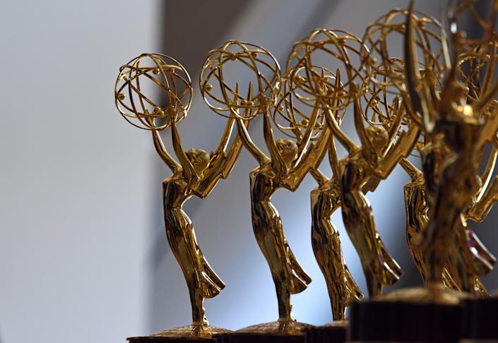 Emmy statues are lined up before the 70th Emmy Awards at the Microsoft Theater in Los Angeles on Sept. 17, 2018. (Photo: VALERIE MACON/AFP via Getty Images)