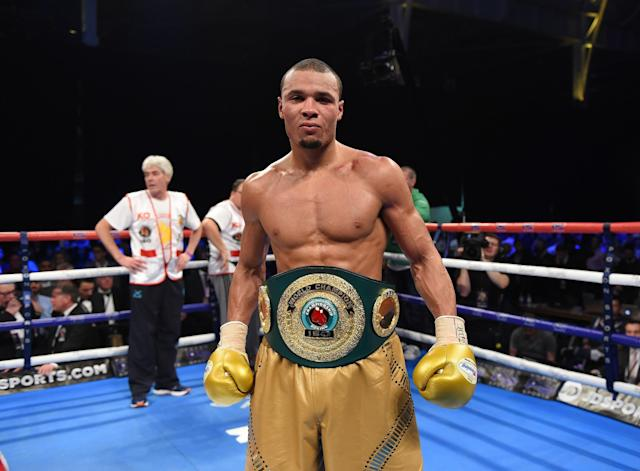 <p>LONDON, ENGLAND – FEBRUARY 04: Chris Eubank Jnr of Great Britain defeats Renold Quinlan of Australia for the IBO World Super Middleweight title Olympia London on February 4, 2017 in London, England. (Photo by Leigh Dawney/Getty Images) </p>