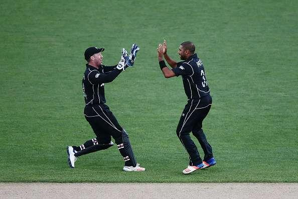 AUCKLAND, NEW ZEALAND - MARCH 04: Jeetan Patel of New Zealand celebrates with teammate Luke Ronchi for the wicket of JP Duminy of South Africa during game five of the One Day International series between New Zealand and South Africa at Eden Park on March 4, 2017 in Auckland, New Zealand. (Photo by Anthony Au-Yeung/Getty Images)