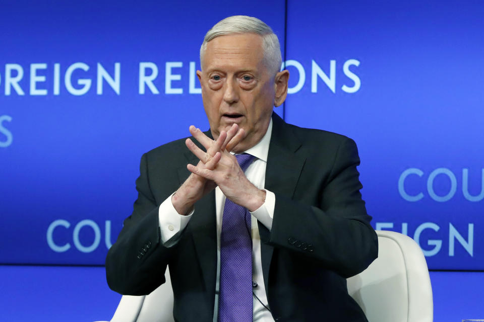 FILE - In this Sept. 3, 2019, file photo, former Defense Secretary Jim Mattis speaks at the Council on Foreign Relations, in New York. With just weeks left before the Nov. 3 election, it's decision time for a number of current and former Trump administration officials who are debating whether to speak out against President Donald Trump. (AP Photo/Richard Drew, File)