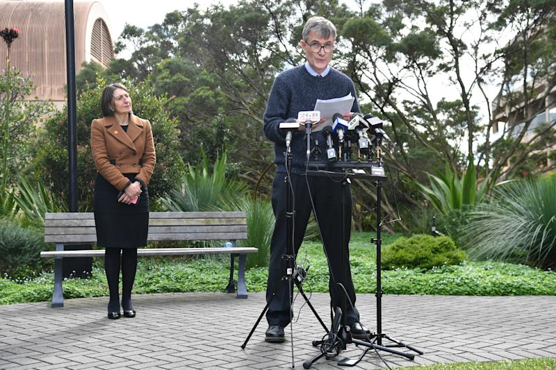 NSW Health's Dr Jeremy McAnulty and NSW Premier Gladys Berejiklian address the media on the weekend. Source: AAP