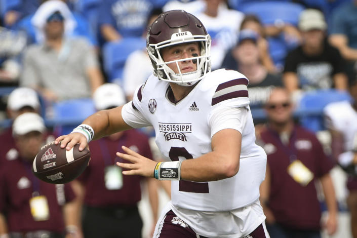 Mississippi State quarterback Will Rogers drops back to pass against Memphis during the first half of an NCAA college football game on Saturday, Sept. 18, 2021, in Memphis, Tenn. (AP Photo/John Amis)