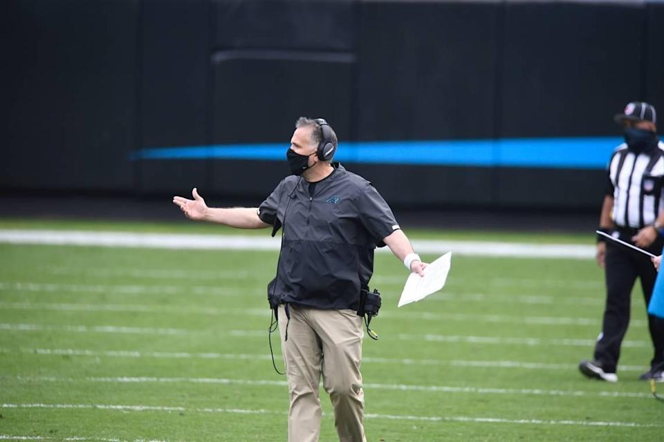 Panthers head coach Matt Rhule reacts to a play during the first quarter against Detroit on Sunday, November 22, 2020.