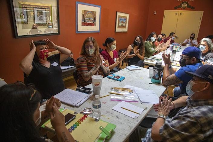 Maggie Lopez, left, during Parents and Caretakers Storytelling program at Casa 0101 July 31, 2021 in Boyle Heights,