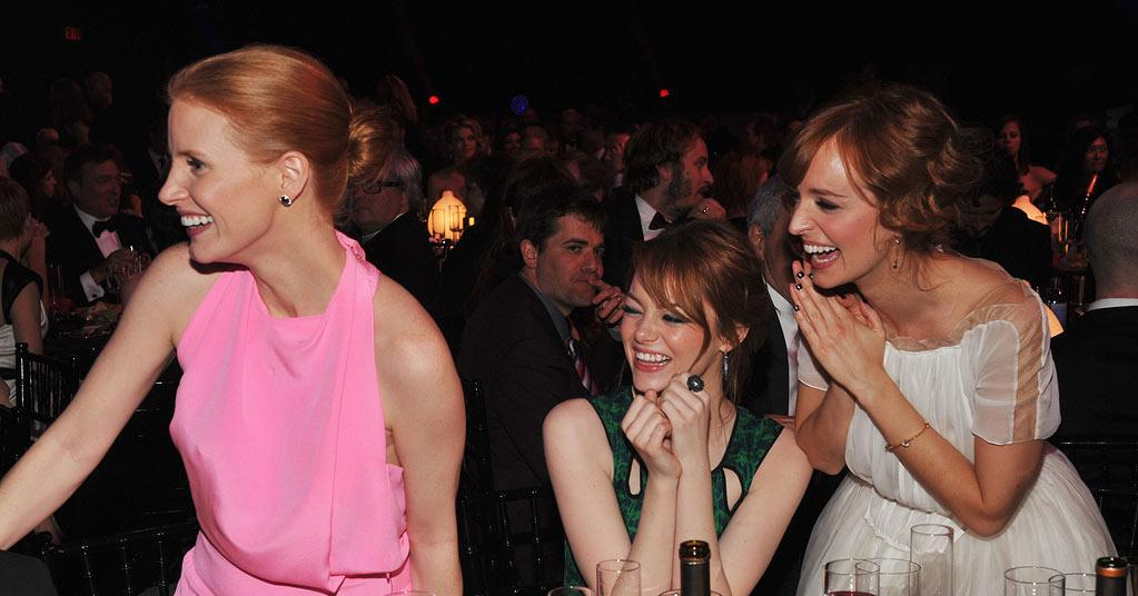 "<a href=""http://movies.yahoo.com/movie/contributor/1809669328"">Jessica Chastain</a>, <a href=""http://movies.yahoo.com/movie/contributor/1809635883"">Emma Stone</a> and Ahna O'Reilly at the 17th Annual Critics' Choice Awards reception in Hollywood on January 12, 2012."