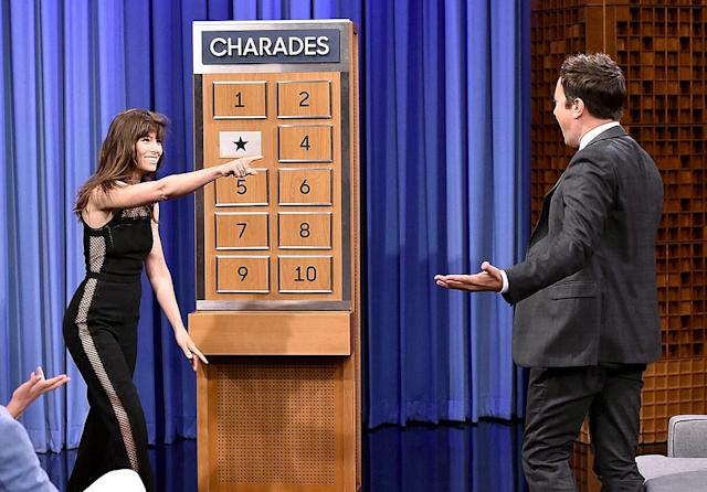 """<p>While promoting her new series, <i>The Sinner</i>, Biel stopped by Jimmy Fallon's <i>Tonight Show</i> to play some charades. She was doing fabulously until the end, when she couldn't guess hubby Justin Timberlake's song """"Cry Me a River""""! (Photo: Theo Wargo/Getty Images for NBC) </p>"""