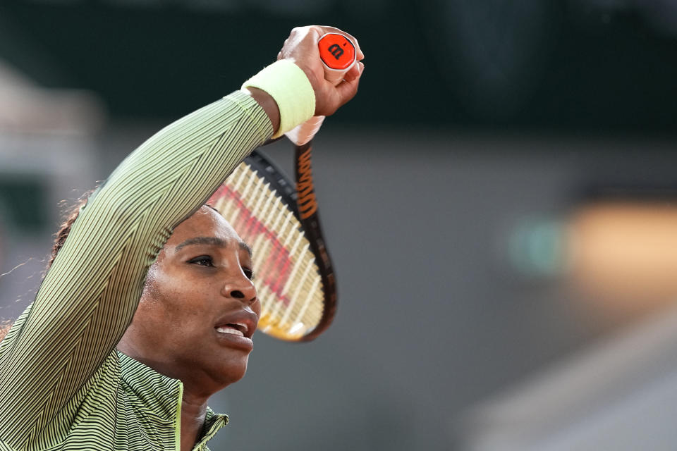 United States Serena Williams plays a return to Romania's Irina-Camelia Begu during their first round match on day two of the French Open tennis tournament at Roland Garros in Paris, France, Monday, May 31, 2021. (AP Photo/Michel Euler)