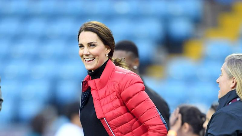 Kate Middleton Displays Tiny Baby Bump in Fitted Black Outfit -- See the Pics!