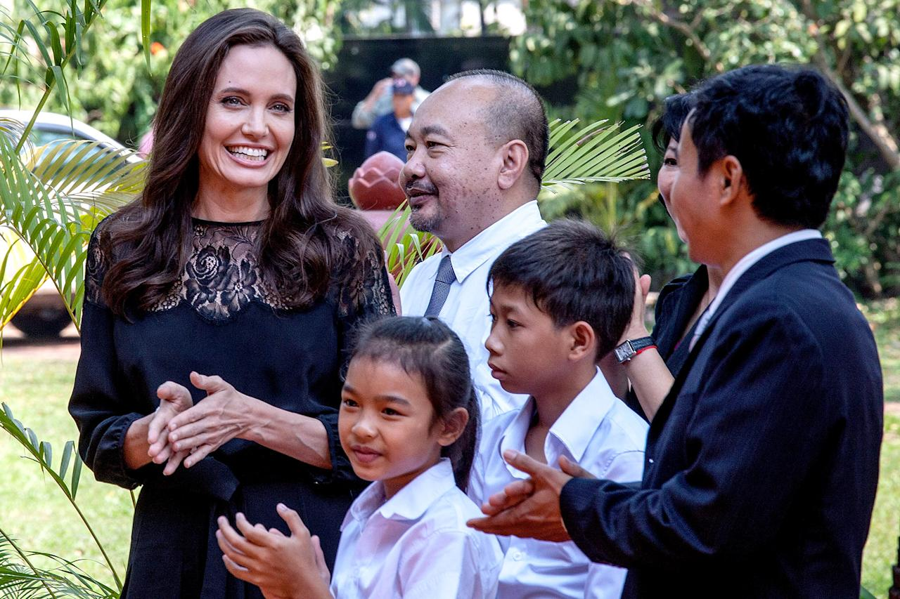 Angelina Jolie And Her Children At Her Movie Premiere In Cambodia