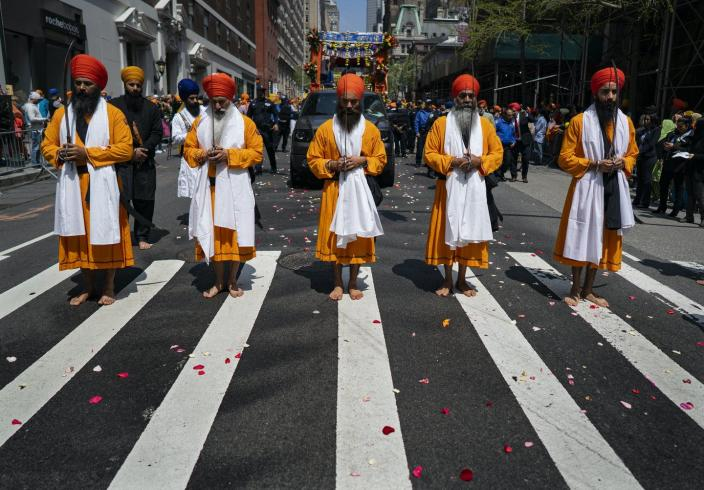 """<span class=""""caption"""">Sikh Day parade on Madison Avenue, New York.</span> <span class=""""attribution""""><span class=""""source"""">AP Photo/Craig Ruttle</span></span>"""