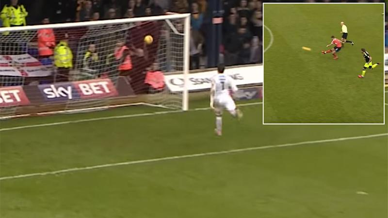 Lee produced his own 'Beckham' moment. Pic: Luton Town Football Club
