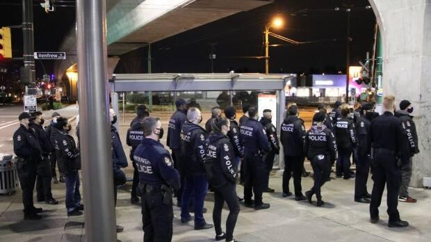 At least 30 law enforcement officers from the Vancouver Police Department, Transit Police and CN Police responded to an anti-pipeline protest near Renfrew Station in East Vancouver late Friday night and early Saturday.