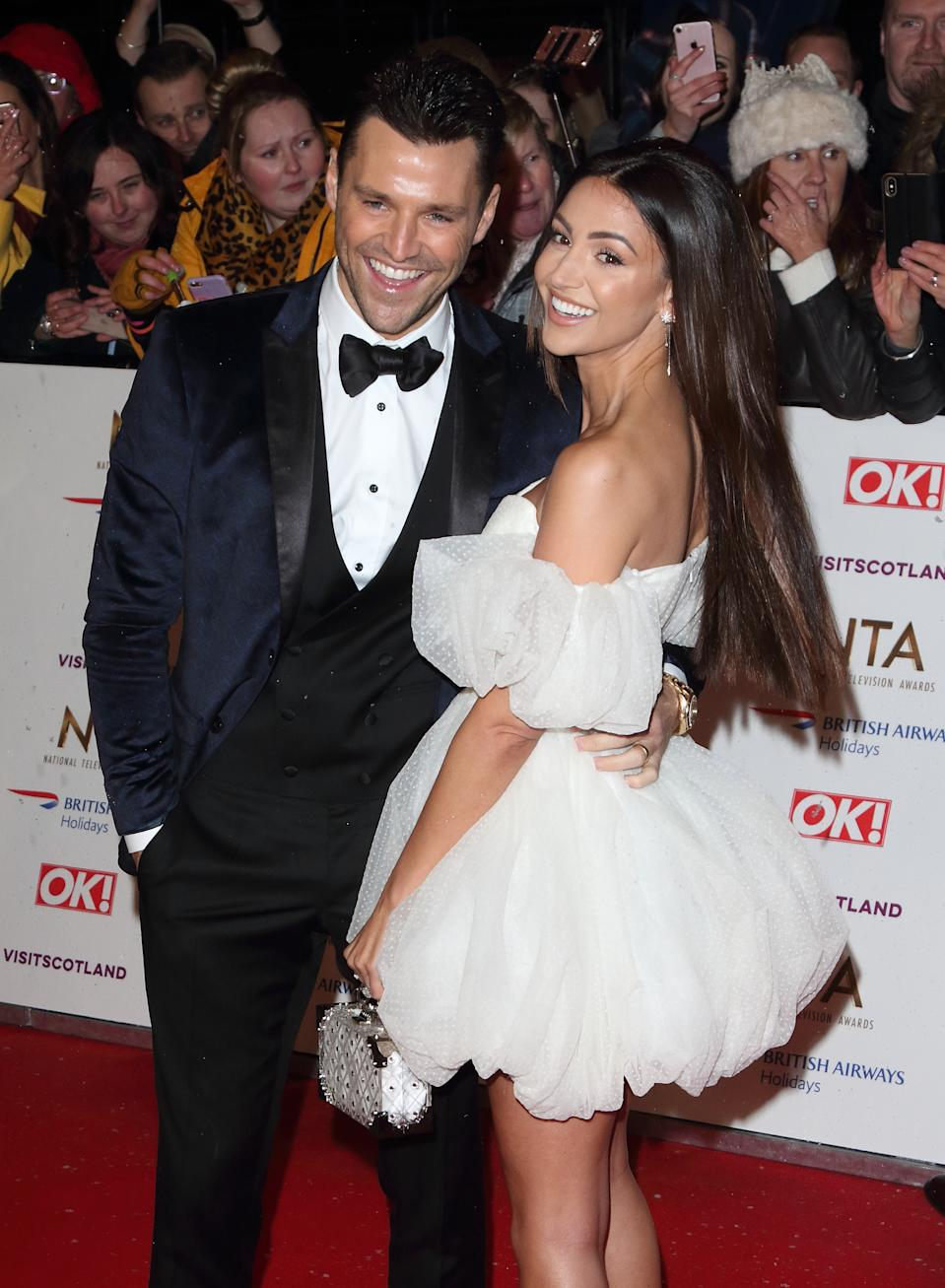 LONDON, -, UNITED KINGDOM - 2019/01/22: Mark Wright and Michelle Keegan are seen on the red carpet during the National Television Awards at the O2, Peninsula Square in London. (Photo by Keith Mayhew/SOPA Images/LightRocket via Getty Images)