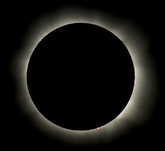 Astrophotographer Bob Hatfield took this image of the total solar eclipse on Nov. 14, 2012 from a cruise ship north of Douglas, Australia.
