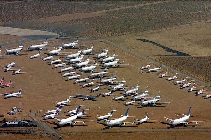 Commercial aeroplanes parked at the Mojave airport in California