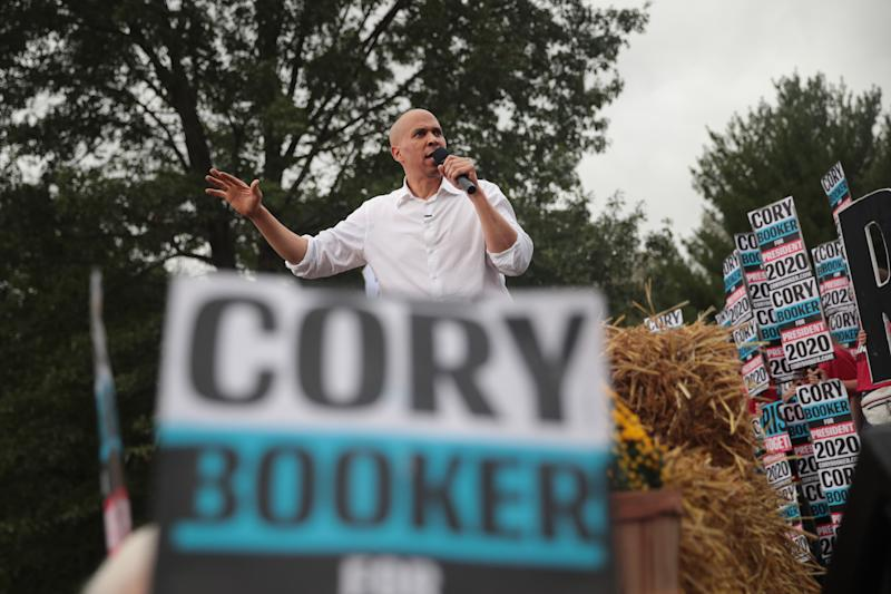 Democratic presidential candidate, Sen. Cory Booker (D-NJ) speaks at the Polk County Democrats Steak Fry on Sept. 21, 2019 in Des Moines, Iowa. Seventeen of the 2020 Democratic candidates and more than 12,000 of their supporters attended the event. (Photo: Scott Olson/Getty Images)