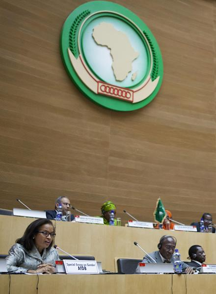 Geraldine Fraser-Moleket, African Development Bank's Special Envoy on Gender, gives opening remarks at the an emergency meeting of the African Union executive council in Addis Ababa on September 8, 2014 (AFP Photo/Zacharias Abubeker)
