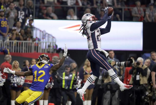 <p>New England Patriots' Stephon Gilmore, right,<br>intercepts a pass intended for Los Angeles Rams' Brandin Cooks (12) during the second half of the NFL Super Bowl 53 football game Sunday, Feb. 3, 2019, in Atlanta. (AP Photo/Chuck Burton) </p>