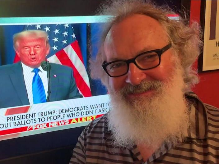 Randy Quaid drinking champagne while President Donald Trump spoke at the Republican National Convention in September 2020 ((Randy Quaid - YouTube))