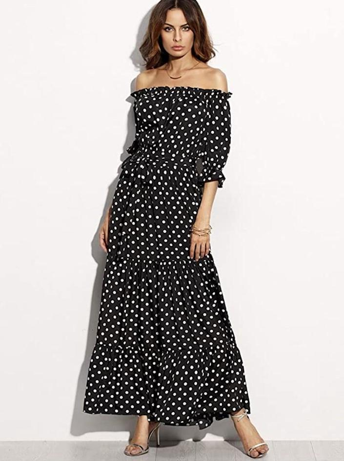 <p>Show off your shoulders in this flowry <span>R.Vivimos Polka-Dot Long Dress</span> ($20 - $27). </p>