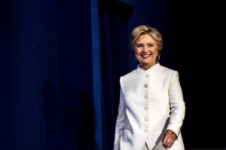 Hillary Clinton wore a crisp, white Ralph Lauren pantsuit for her final debate against Donald Trump in Las Vegas. (Photo: Getty Images)