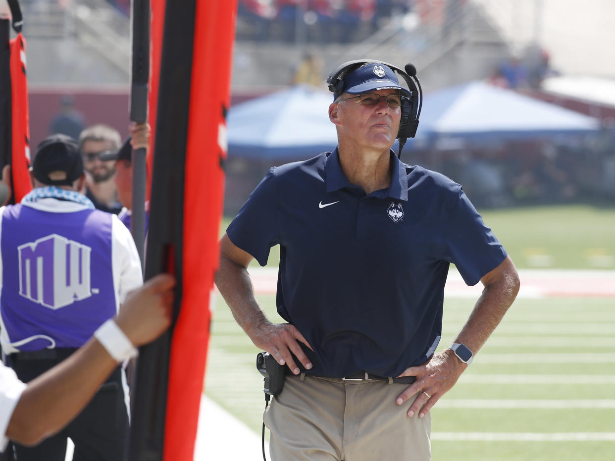 Connecticut coach Randy Edsall coaches his team against Fresno State during the second half of an NCAA college football game in Fresno, Calif., Saturday, Aug. 28, 2021. (AP Photo/Gary Kazanjian)