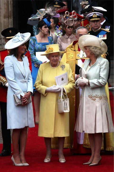 """<p>When around the Queen, you should follow the <a rel=""""nofollow noopener"""" href=""""http://www.news.com.au/world/etiquette-the-dos-and-donts-of-meeting-her-maj-queen-elizabeth-ii/news-story/58e5742b29f809fbcb8a774d7546c0ff"""" target=""""_blank"""" data-ylk=""""slk:same rule some people use for kids"""" class=""""link rapid-noclick-resp"""">same rule some people use for kids</a>, which is """"little children should be seen and not heard."""" This allows for the Queen to carry the conversation - or put it to a stop, if she so desires.</p>"""