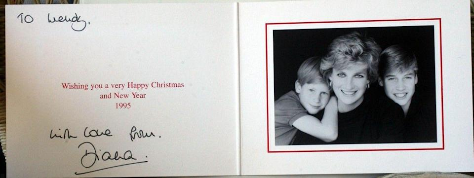 <p>In 1995, William and Harry posed with their mother, Diana. Charles and Diana had separated in 1992 and sent out their own cards each holiday season.</p>