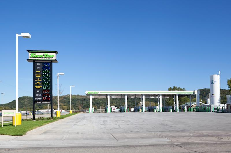 """La Crosse, Wisconsin, USA - September 14, 2012: The nation's first alternative fueling station, opened earlier this year, owned and operated by Kwik Trip, Inc., one of the largest convenience store chains in the Upper Midwest."""