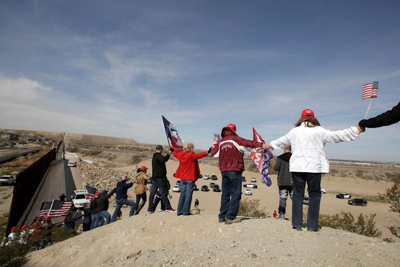 The protesters gathered near an open section of the U.S.-Mexico border in Sunland Park, New Mexico. (Reuters)