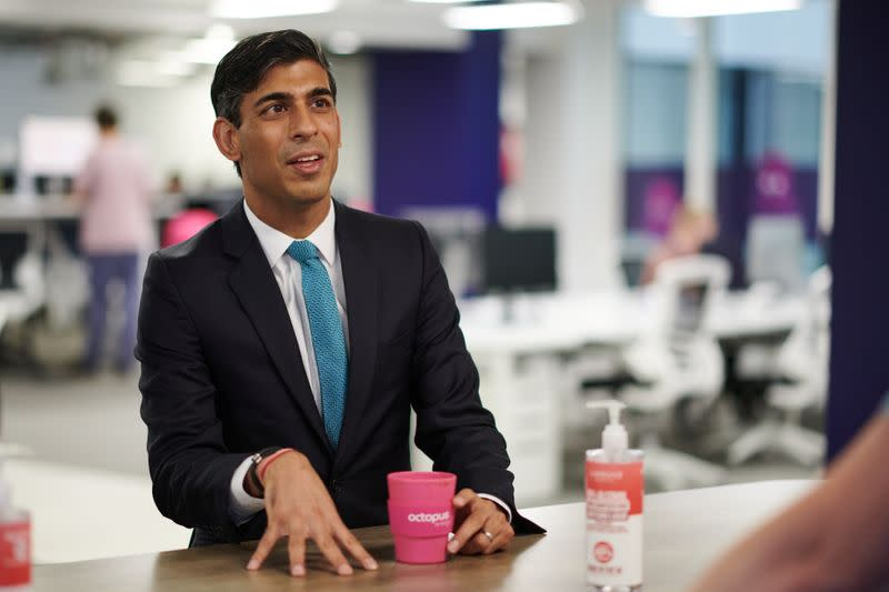 Britain's Chancellor of the Exchequer Rishi Sunak visits Octopus Energy, in London