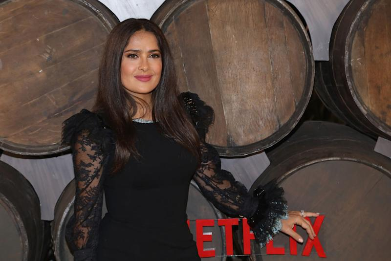 Salma Hayek promotes her new Netflix series, Monarca, on Sept. 10 in Mexico City. (Photo: Victor Chavez/Getty Images)