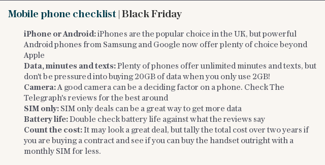 Mobile phone checklist | Black Friday