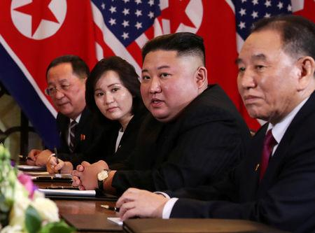 FILE PHOTO: North Korea's leader Kim Jong Un, North Korean Foreign Minister Ri Yong Ho and Kim Yong Chol, Vice Chairman of the North Korean Workers' Party Committee, attend the extended bilateral meeting in the Metropole hotel with U.S. President Donald Trump and his delegation during the second North Korea-U.S. summit in Hanoi, Vietnam February 28, 2019. REUTERS/Leah Millis/File Photo