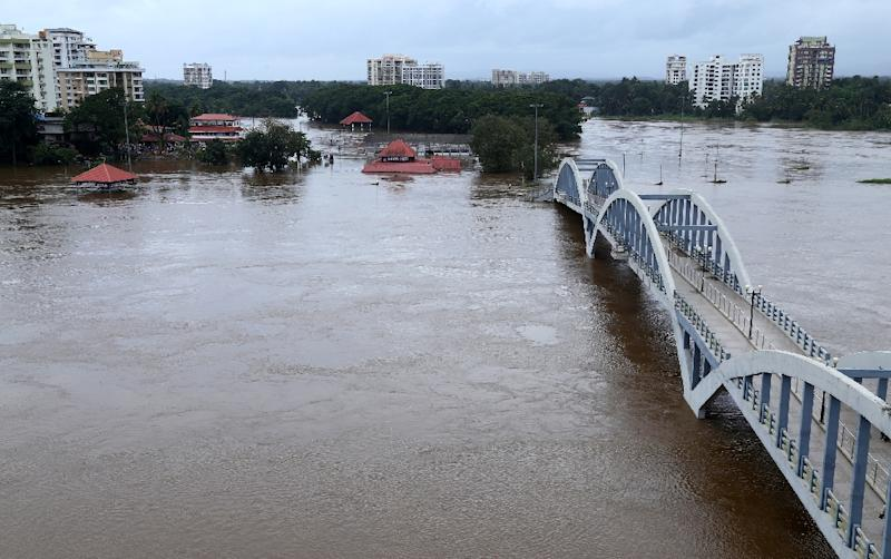 North and central Kerala has been worst hit by the floods but all 14 of the state's districts have been put on alert as heavy rain is predicted for several days (AFP Photo/-)