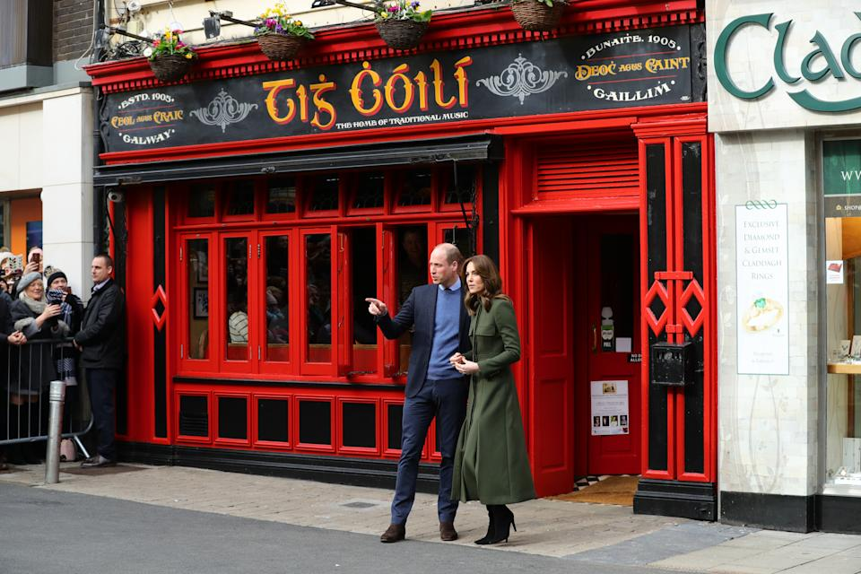 The Duke and Duchess of Cambridge meet local Galwegians after a visit to a traditional Irish pub in Galway city centre on the third day of their visit to the Republic of Ireland.