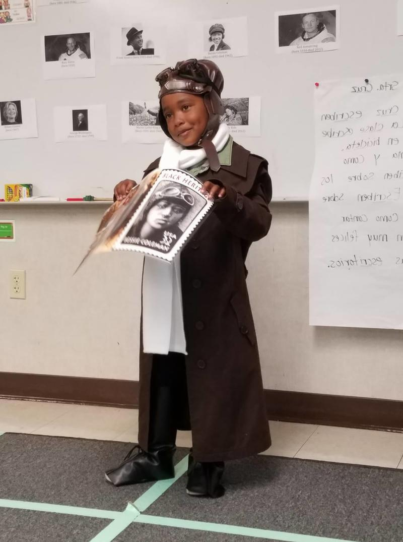 Earlier, Ella-Lorraine had dressed up as pioneer African-American pilot Bessie Coleman. (Photo: The Brown family)