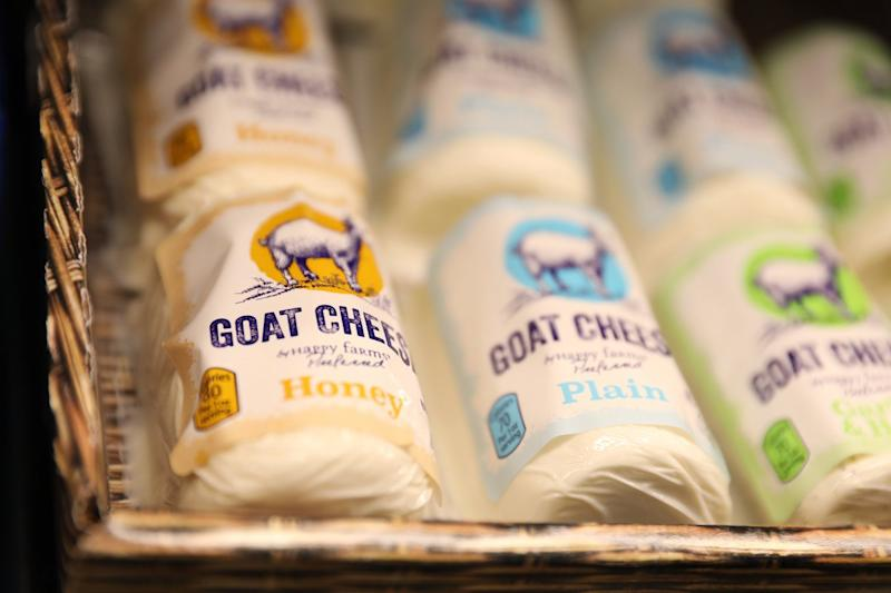 goat cheese on a shelf at an Aldi market.
