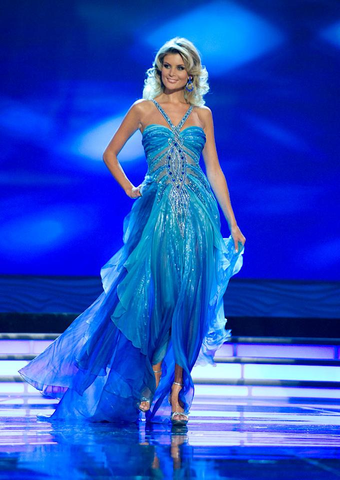 Iveta Lutovska, Miss Czech Republic 2009, competes as a top 10 finalist in an evening gown of her choice during the 58th annual Miss Universe competition from Atlantis, Paradise Island, Bahamas.